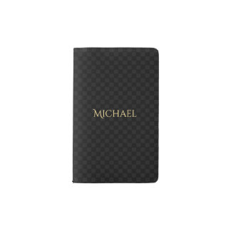 Custom Elegant Faux Gold Name Black Check Pattern Pocket Moleskine Notebook