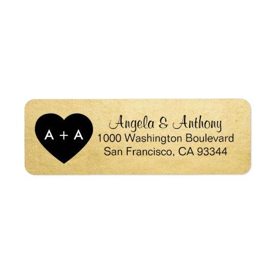 Custom Elegant Gold Heart Wedding Return Address