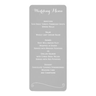 Custom Elegant Grey And White Wedding Menu Card