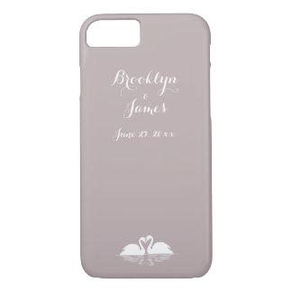 Custom Elegant Grey Wedding iPhone 7 Cases Swans