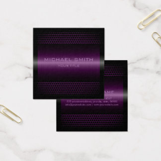 Custom Elegant Lavender Stainless Metal Square Business Card