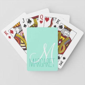 Custom Elegant Mint Green Monogram Poker Deck