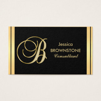 Custom Elegant Monogrammed Gold Black Letter 'B' Business Card