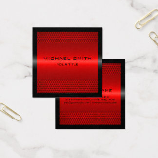 Custom Elegant Red Stainless Metal Square Business Card