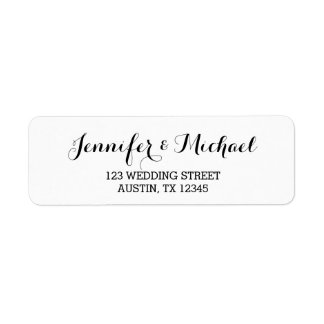 Custom Elegant Script Wedding Return Address Label