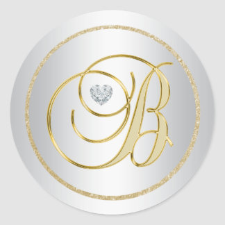 Custom Elegant Silver Gold Monogrammed 'B' Wedding Classic Round Sticker