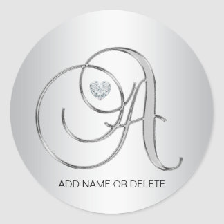 Custom Elegant Silver Monogrammed Initial Letter A Classic Round Sticker