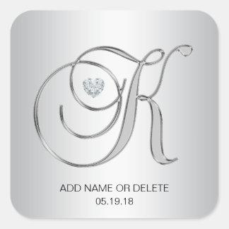 Custom Elegant Silver Monogrammed Initial Letter K Square Sticker