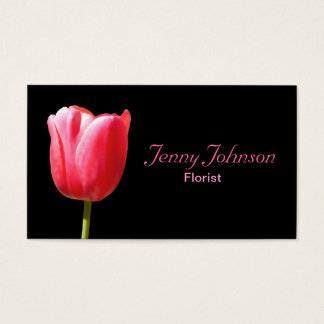 Custom Elegant Single Tulip Stem Business Card