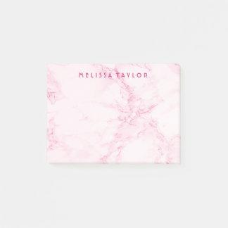 Custom elegant soft pink marble post-it notes