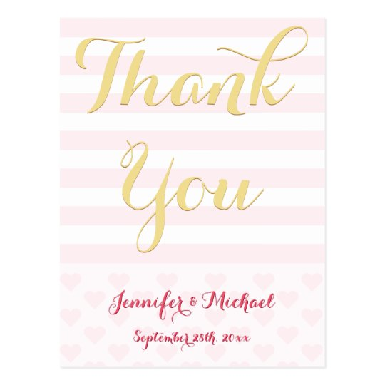Custom Elegant Stripes Wedding Thank You Postcard