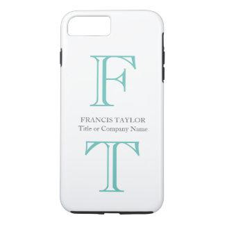 Custom elegant stylish minimal turquoise initials… iPhone 7 plus case