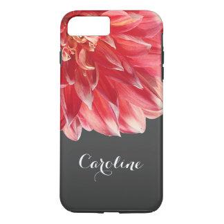 Custom Elegant Summer Coral Red Dahlia Flower iPhone 8 Plus/7 Plus Case