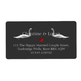 Custom Elegant Swan Wedding Return Address Label