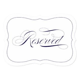 "Custom Elegant Wedding Navy Blue Reserved Sign 5"" X 7"" Invitation Card"