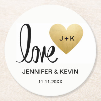Custom Elegant White Gold Monogram Heart Wedding Round Paper Coaster