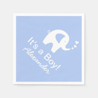 Custom elephant It's a boy baby shower napkins Paper Napkin