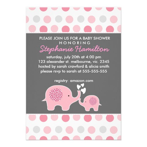 Custom elephant polka dots baby girl shower custom invitations