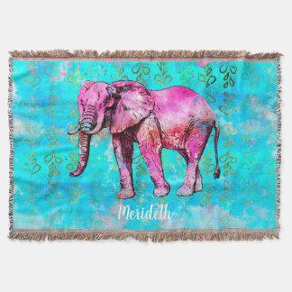 Custom Elephant Watercolor Pink Blue Trendy Throw Blanket