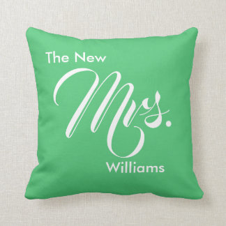 Custom Emerald Green The New Mrs. Throw Pillow