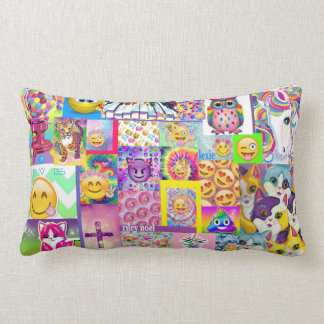 Custom Emoji Pillow Pink Purple Girl ROOM Rainbow