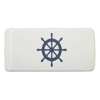 Custom eraser with nautical boat wheel logo