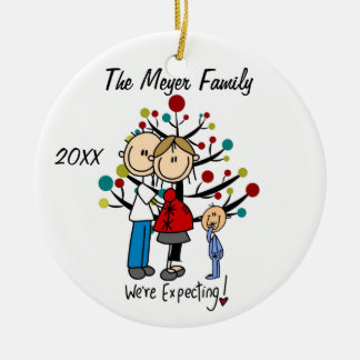 Custom Expectant Couple with Toddler Boy Ornament