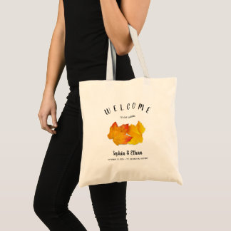 Custom Fall Wedding Welcome Bag Two Leaves
