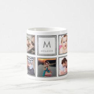 Custom Family Baby Photo Collage Glamorous Silver Coffee Mug