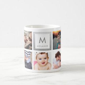 Custom Family Baby Photo Collage Monogram Coffee Mug