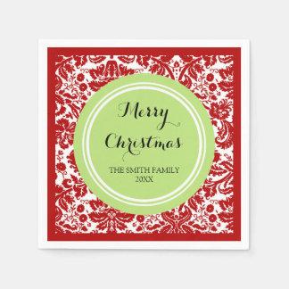 Custom Family Christmas Red Damask Napkins Disposable Napkin