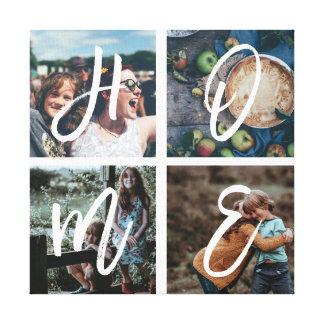 Custom Family Instagram Photo Collage Brush Script Canvas Print