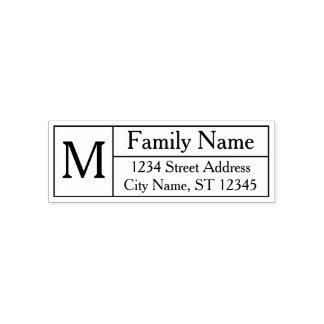 Custom Family Monogram, Name and Return Address Self-inking Stamp