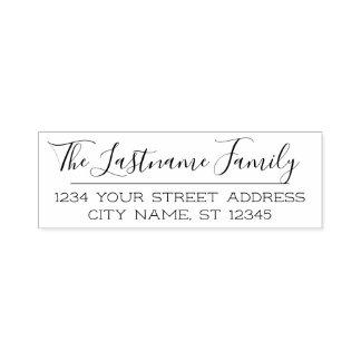 Custom Family Name and Return Address Handwritten Self-inking Stamp