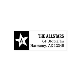 Custom Family Name | Monogram Star Return Address Self-inking Stamp