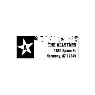 Custom Family Name | Monogram Stars Return Address Self-inking Stamp