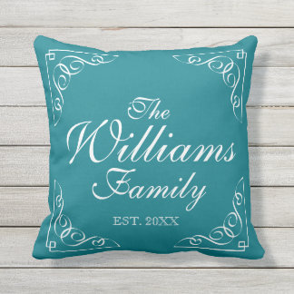 Custom family name outdoor aquamarine throw pillow