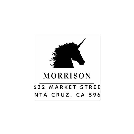 Custom Family Name & Unicorn Return Address Wood Rubber Stamp