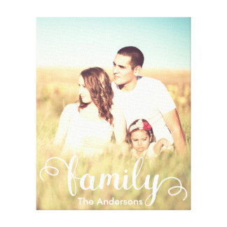 Custom family photo and calligraphy canvas print