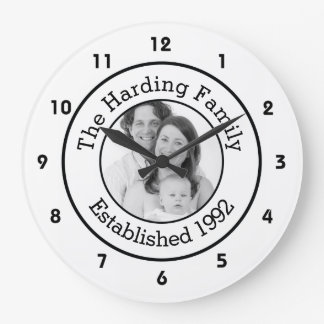 Custom Family Photo Black and White Large Clock