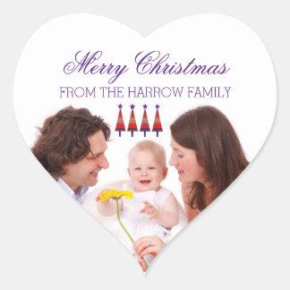 Custom family photo Christmas stickers purple star