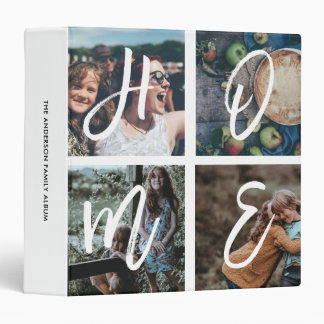 Custom Family Photo Collage Brush Script HOME Binder