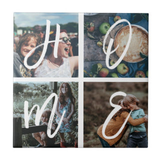 Custom Family Photo Collage Brushed Letters HOME Tile