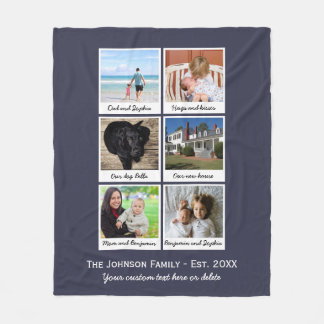 Custom Family Photo Collage Home Established Fleece Blanket