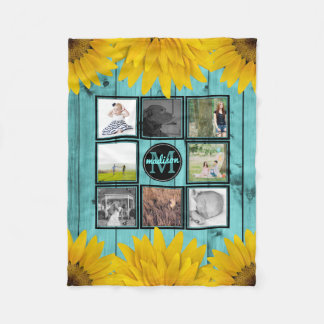 Custom Family Photo Collage Rustic Teal Yellow Fleece Blanket