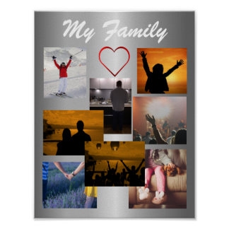 Custom Family Photo Collage Template For 8 Photos Poster