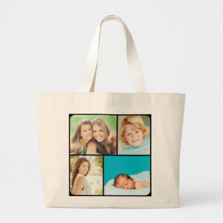 Custom Family Photo Collage Tote Bags