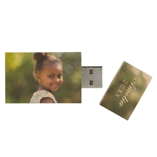 Custom Family Photo Monogram USB Flash Drive Wood USB 2.0 Flash Drive
