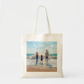 Custom family photo on beach tote bag