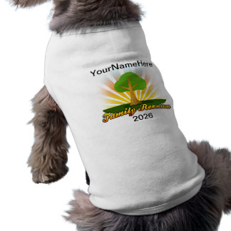 Custom Family Reunion, Green Tree with Sun Rays Dog Tee